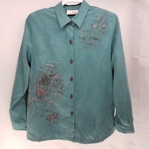 Erin London Painted Scenes Suede Blouse Size Large